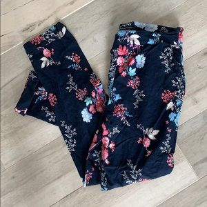 French Connection navy floral linen ankle pants